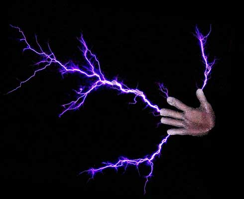 A Lightning Man's hand wearing a Faraday suit